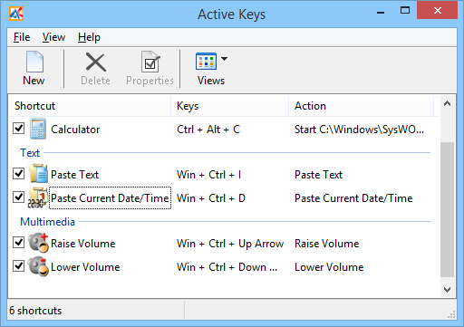 Active Keys Main Window